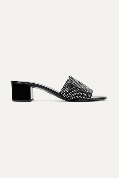 Giuseppe Zanotti Roll Crystal-embellished Suede Mules - Black
