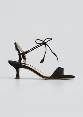 Manolo Blahnik Zouliplain Suede Ankle-Wrap Sandals