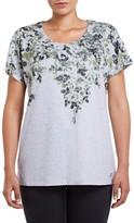 M&Co VIZ-A-VIZ floral placement top