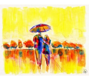 "Creative Gallery Golden Morning Walk with Umbrella Abstract 36"" x 24"" Canvas Wall Art Print"