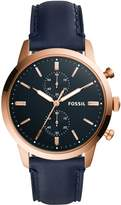 Fossil Townsman Chronograph Navy Leather Watch