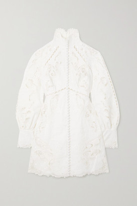 Zimmermann Super Eight Tulle-trimmed Broderie Anglaise Linen Mini Dress - Ivory