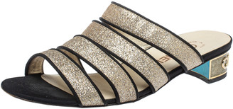 Chanel Gold Glitter Strappy Slide Sandals Size 38.5