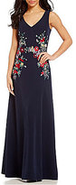 David Meister V-Neck Embroidered A-line Gown