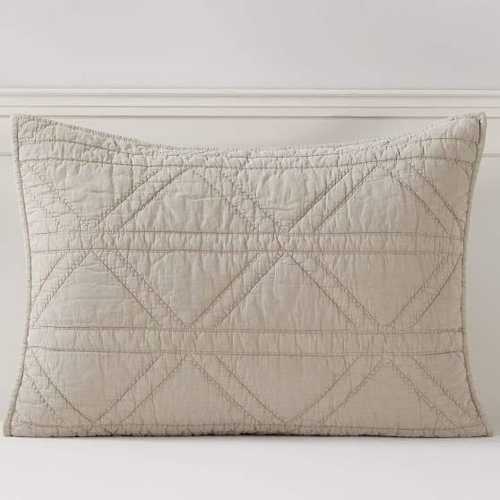 Pottery Barn Teen Diamond Stitch Sham, Standard, Natural