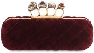 Alexander McQueen 4 Ring Jewel Quilted Velvet Clutch
