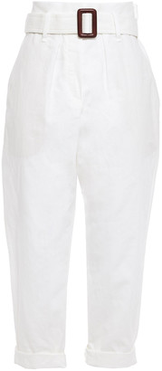 Brunello Cucinelli Belted Slub Linen And Cotton-blend Tapered Pants
