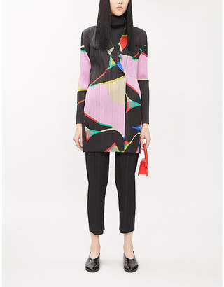 Pleats Please Issey Miyake Abstract-print woven pleated cardigan
