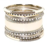 Chamak by Priya Kakkar Women's Beaded and Textured 11 Piece Bangle Set Cream and Silver