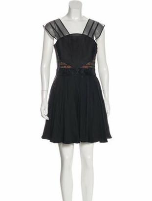 Emilio De La Morena Fan Silk Cocktail Dress w/ Tags Black