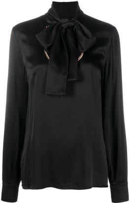 Pinko Chain Embellished Tie Neck Blouse