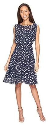 Adrianna Papell Women's Printed Chiffon Blouson Dress