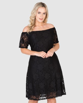 Love Your Wardrobe - Women's Black Off the Shoulder Dresses - Stretch Lace Off-The-Shoulder Dress - Size One Size, 18 at The Iconic