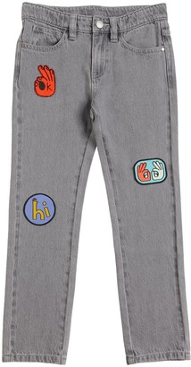 Stella Mccartney Kids Stretch Cotton Denim Jeans W/ Patches