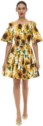 Dolce & Gabbana Printed Cotton Poplin Mini Dress