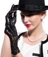 Matsu Gloves Matsu Women's Elegant Lambskin and Lace Driving Gloves M9225 (, L)