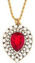 Oscar de la Renta Crystal & Pearl Pendant Necklace