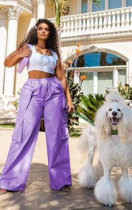 PrettyLittleThing Plus Lilac Zip Pocket Detail Wide Leg Cargo Trousers