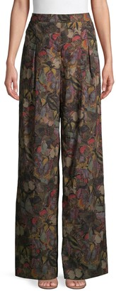 Valentino Butterfly Wide-Leg Cotton Pants