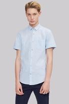 Moss Bros Extra Slim Fit Sky Linen Short Sleeve Casual Shirt