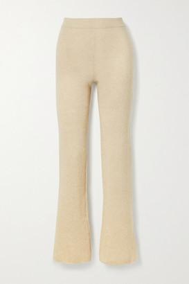 Nanushka Leba Ribbed-knit Flared Pants - Cream