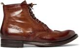 Officine Creative Anatomia Burnished-Leather Brogue Boots