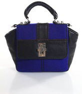 Charlotte Ronson Black Leather Blue Fabric Trim Small Crossbody Handbag