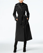 London Fog Petite Layered A-Line Maxi Trench Coat