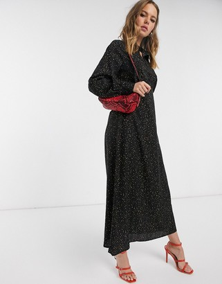 Y.A.S maxi dress in black abstract spot print