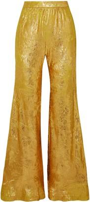 Halpern Metallic Plisse-georgette Flared Pants