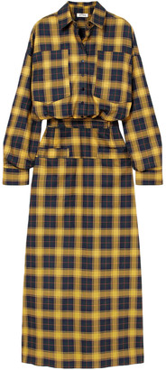 ATTICO Checked Cotton Midi Shirt Dress