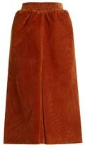 Balenciaga Pleat-front corduroy midi skirt