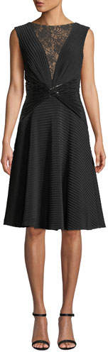 Tadashi Shoji Sleeveless Jersey Pintuck Dress w/ Lace