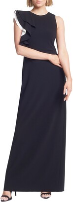 Halston Contrast Ruffle Sleeve Crepe Sheath Gown