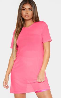 PrettyLittleThing Neon Pink Mesh T Shirt Dress