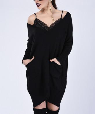 Milan Kiss Women's Casual Dresses BLACK - Black Side-Pocket Off-Shoulder Dress - Women
