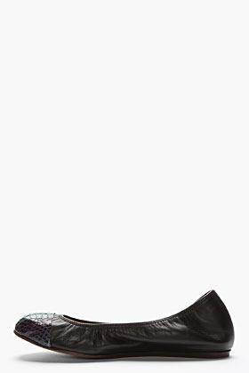 Lanvin Black leather snakeskin captoe ballerina flats