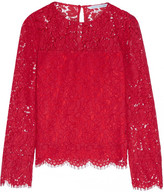 Diane von Furstenberg Yeva Corded Lace Top - Red