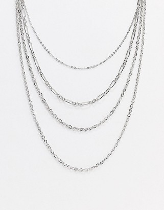 Topshop multirow chain necklace in silver