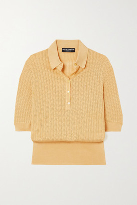 Dolce & Gabbana Crocheted Silk Top - Yellow