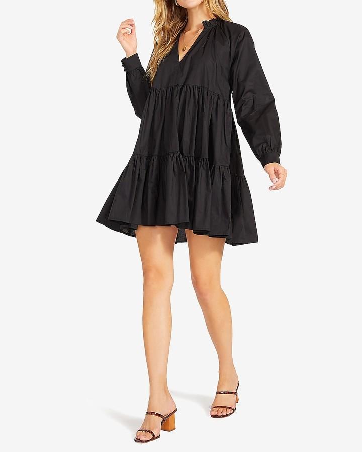 Express Bb Dakota Long Sleeve Tiered Mini Dress