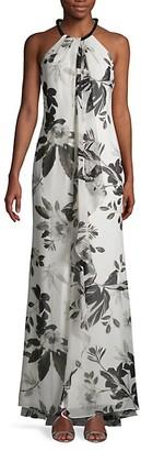 Calvin Klein Floral Chiffon Gown