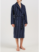 John Lewis Stripe Velour Cotton Robe, Navy