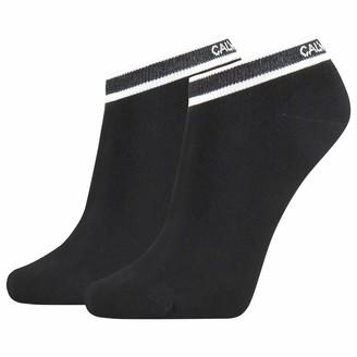 Calvin Klein Women's Liner 2p Logo Cuff Stripe Spencer Socks