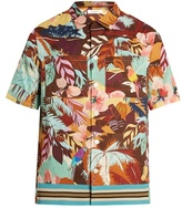 Valentino Tropical-print Short-sleeved Cotton Shirt