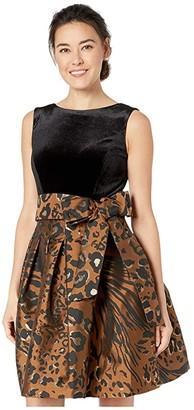 Tahari ASL Petite Sleeveless Velvet and Animal Print Jacquard Cocktail Dress (Copper Leopard) Women's Dress