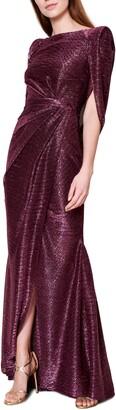 Talbot Runhof Sprinkled Metallic Voile Drape Back Gown
