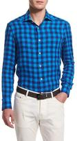 Kiton Buffalo Check Long-Sleeve Sport Shirt, Blue