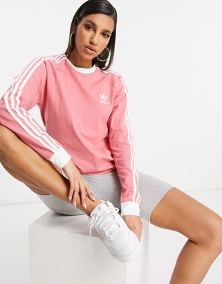 adidas three stripe logo long sleeve top in hazy rose