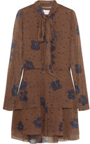 See by Chloe Pussy-bow Printed Silk Mini Dress - Brown